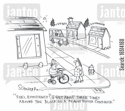 gas guzzler cartoon humor: 'Fuel efficiency? I get about three times around the block on a peanut butter sandwich.'
