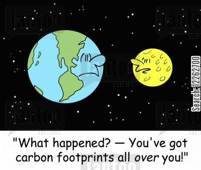 human beings cartoon humor: 'What happened? -- You've got carbon footprints all OVER you!'