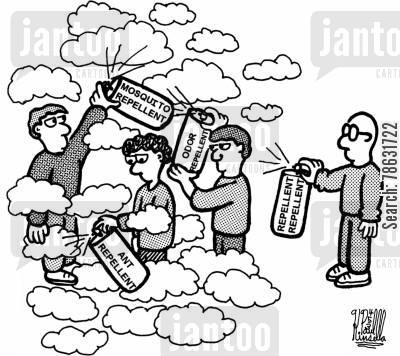 mosquito cartoon humor: The Clouds of Repellent