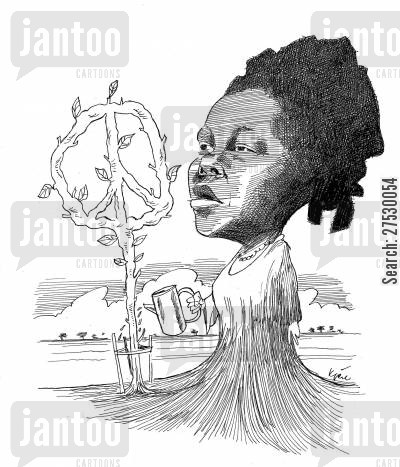 green belt cartoon humor: Wangari Maathai - Nobel Peace Prize.