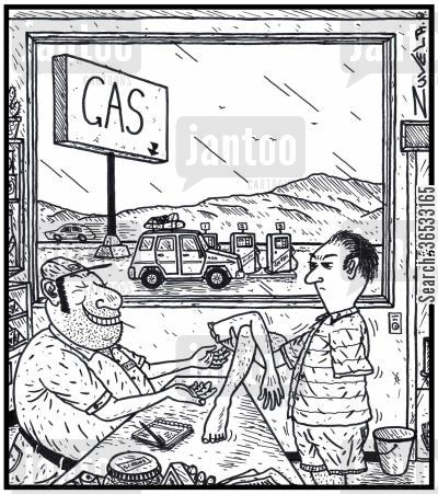 arm and a leg cartoon humor: A customer angry about the cost of gas costing an arm and a leg, handing over his arm and a leg to a greedy gas station owner.