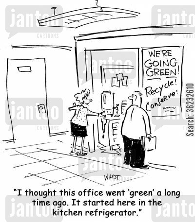 paperless office cartoon humor: I thought this office went 'green' a long time ago. It started here in the kitchen refrigerator.