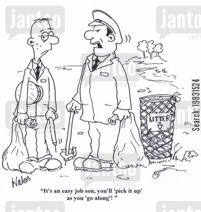 parkkeeper cartoon humor: 'It's an easy job son, you'll 'pick it up' as you 'go along'!'