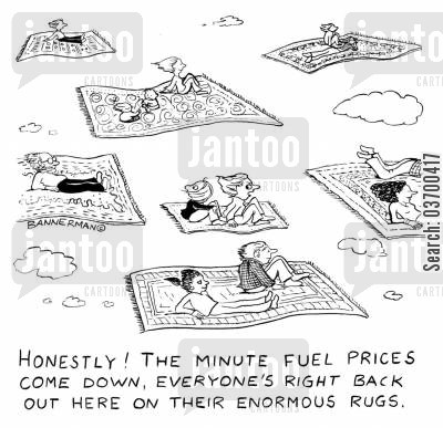 flying carpets cartoon humor: 'Honestly! The minute fuel prices come down, everyone's right back out here on their enormous rugs.'