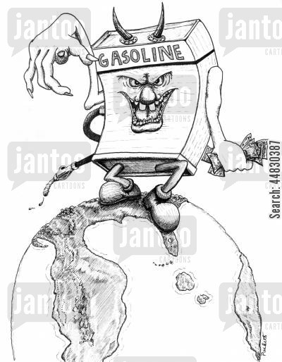 changing climate cartoon humor: Gasoline is the devil and it's treading on the world.