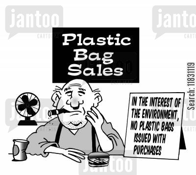 purchases cartoon humor: In the interest of the environment, no plastic bags issued with purchases.