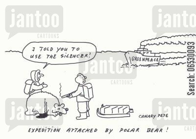 greenpeace cartoon humor: Expedition attacked by polar bear - I told you to use the silencer.