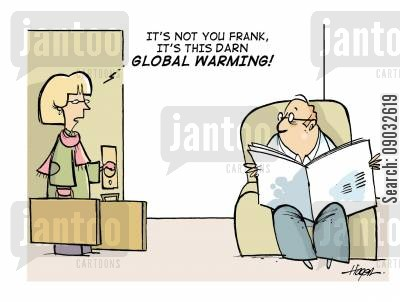 emission cartoon humor: 'It's not you Frank, it's this darn global warming!'