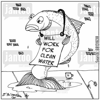 clean water cartoon humor: Will work for clean water.