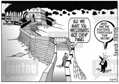 cheap goods cartoon humor: But we make you westerners nice cheap things. And we're paying through the nose!