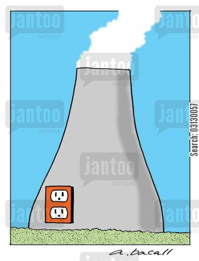 nuclear energy cartoon humor: Nuclear power plant.