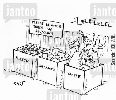 cardboard cartoon humor: 'Please separate trash for recycling.'