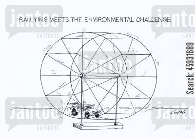 car racing cartoon humor: Rallying meets the environmental challenge