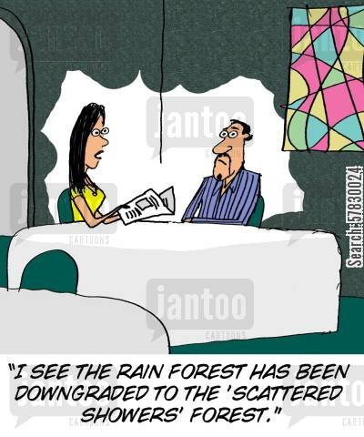 environmental problems cartoon humor: 'I see the rain forest has been downgraded to the 'scattered showers' forest.'