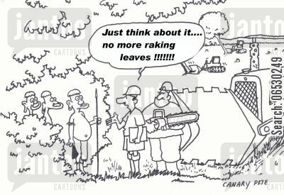 clearance cartoon humor: Rain forest clearance - Just think about it, no more raking leaves!