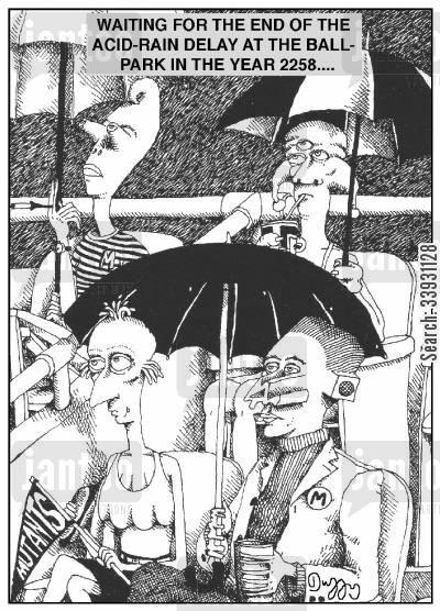 ballpark cartoon humor: Waiting for the end of the acid-rain delay at the ballpark in the year 2258...