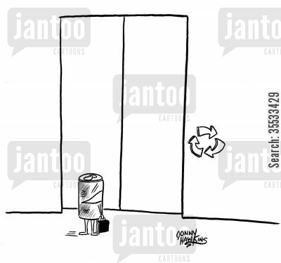 earth day cartoon humor: Soda can arrives at elevator with recycle symbols for up and down buttons.