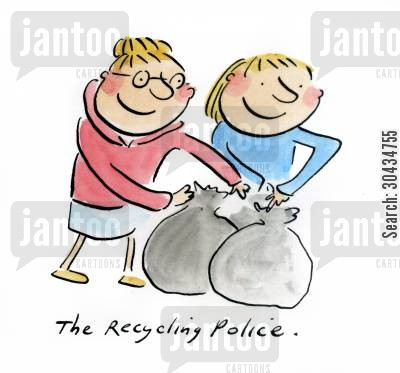 garbage bag cartoon humor: The Recycling Police,