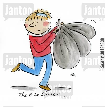 asda cartoon humor: The Eco Sinner....