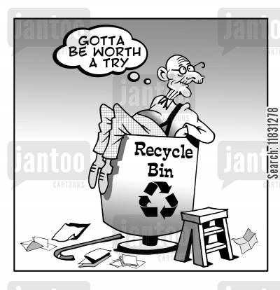 recycling bin cartoon humor: Gotta be worth a try!