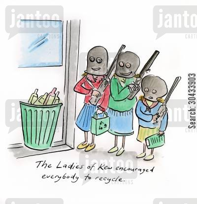 barnes cartoon humor: The Ladies of Kew encouraged everybody to recycle.