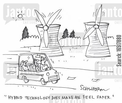 renewable energy cartoon humor: 'Hybrid technology does make me feel safer.'