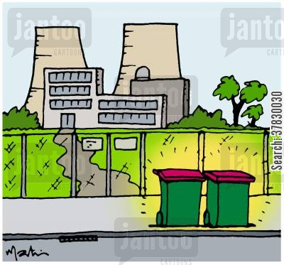 rubbish bins cartoon humor: Nuclear waste.