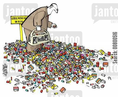 rubbish heap cartoon humor: Chemical Waste.
