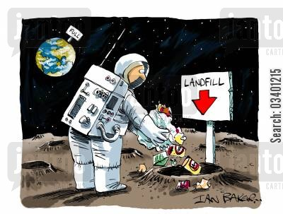 landfills cartoon humor: Landfill on the Moon.