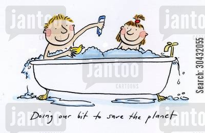 gone green cartoon humor: Doing our bit to save the planet.