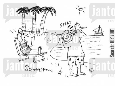 oil spills cartoon humor: Man at the Seaside Picks Up Shell With Says 'Splat'.