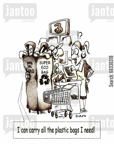 shopping bag cartoon humor: I can carry all the plastic bags I need!