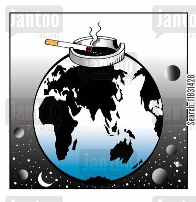 earth day cartoon humor: Smoking world.