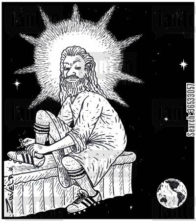 famines cartoon humor: God not too happy with the Humans lacing up his soccer boots about to give the Earth the boot.