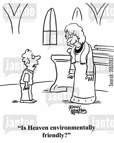 priestess cartoon humor: Kid to church leader: 'Is Heaven environmentally friendly?'