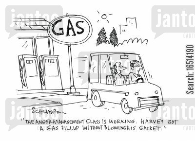 anger management classes cartoon humor: 'The anger management class is working. Harvey got a gas fillup without blowing his gasket.'