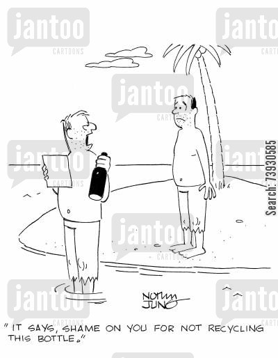 message in a bottle cartoon humor: 'It says, shame on you for not recycling this bottle.'