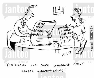 kyoto protocol cartoon humor: 'Personally I'm more concerned about global war mongering.'