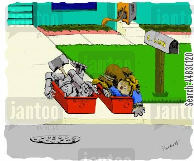 recycles cartoon humor: Cowardly lion put his friends on the curb...
