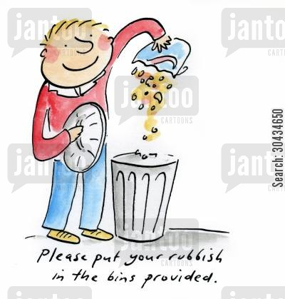 community spirits cartoon humor: Please put your rubbish in the bins provided