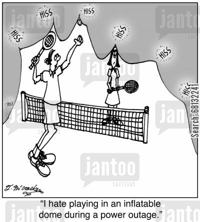 power cut cartoon humor:  'I hate playing in an inflatable dome during a power outage.'
