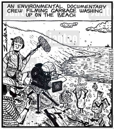 keeping clean cartoon humor: An environmental documentary crew filming garbage washing up on the beach.