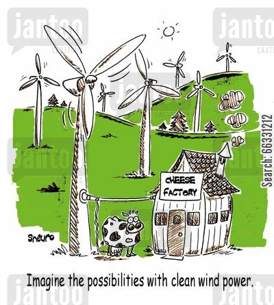 sustainable cartoon humor: Imagine the possibilities with clean wind power.