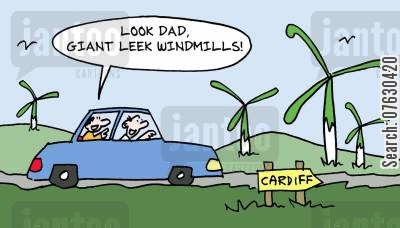 resuable fuels cartoon humor: Look Dad, giant leek windmills!