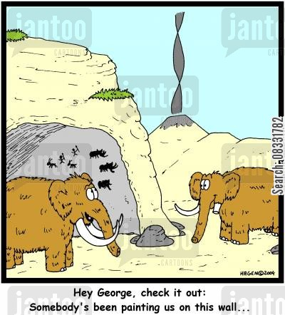 historical time cartoon humor: 'Hey George, check it out: Somebody's been painting us on this wall...'