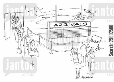 airports cartoon humor: Waiting for Godot.