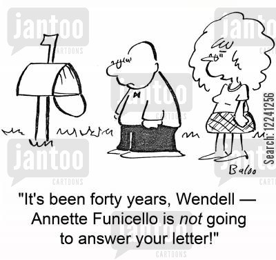 annette funicello cartoon humor: 'It's been forty years, Wendell -- Annette Funicello is NOT going to answer your letter!'