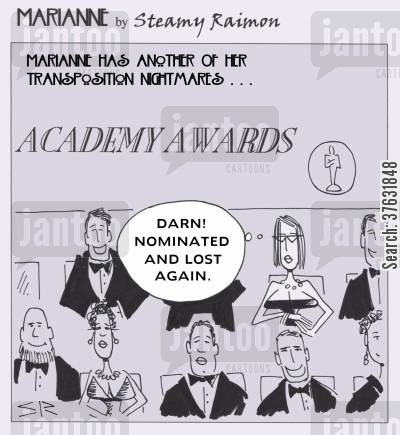 film star cartoon humor: 'Darn Nominated and lost again'