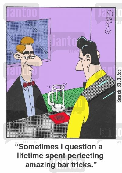 anti-gravity cartoon humor: 'Sometimes I question a lifetime spent perfecting amazing bar tricks.'