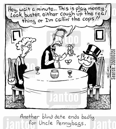 board game cartoon humor: Another blind date ends badly for Uncle Pennybags